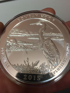 United States - US Mint - America the beautiful - Bombay Hook National Refuge 2015 - large 5 oz 999 silver coin