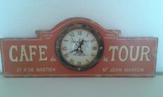 Wooden advertising clock for 'Café de la Tour' - 2nd half of the 20th century