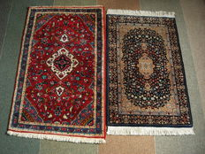 Two beautiful handmade rugs, Chinese 103 x 62 from cashmere wool and Iran Hamadach 110 x 69cm