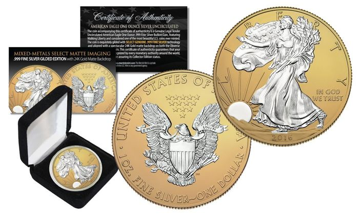 United States - 1 Dollar 2016 'American Eagle' Gilded edition w/ matte backdrop  - 1 oz silver