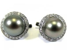 Gold Diamond earrings with Tahitian Pearl 11,5 mm