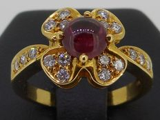 Handmade 18 kt yellow gold ring set with brilliant cut diamonds 0.36 ct and cabochon cut ruby 1.30 ct