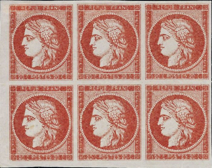 France 1849 - Trial of Yvert n° 3 - 20 centimes in the vermilion red colour, in block of 6, sheet corner.