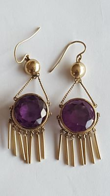 14 Kt Vintage dangle Earrings with Alexandrit - 70 x23 mm