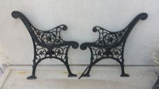 Cast iron bank supports in Art Nouveau style, late 20th century