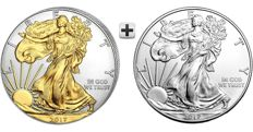 Two silver $1 American eagles 2017 (two 1 oz .999 silver coins): one standard silver + one (24K gold) gilded