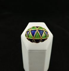 Italian-made ring – 18 kt gold with polychromatic heat enamelling – Made in Italy. Diameter: 17 EU (European size – Adjustable).