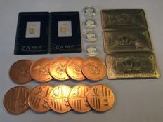 Lot with Pamp Suisse gold bars - Andorra copper coins - US silver coins - US titanium bars American Buffalo - rare earth