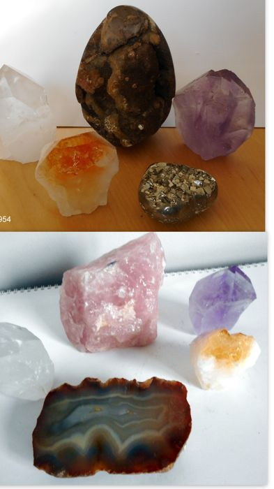 Septaria ei, 6 punten (Amethyst, Citrien, Berg Kristal), Pyrit hart, Agaat en een brok Rose Quarts  - 2957 gm (6)