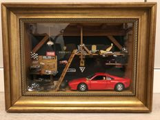 Ferrari 288 GTO - Unique Diorama with certificate of authenticity and signature of the artist - 1992 (37x27cm)