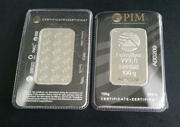 Switzerland - PIM - 100 grams 999 silver / silver bars - in blister with serial number