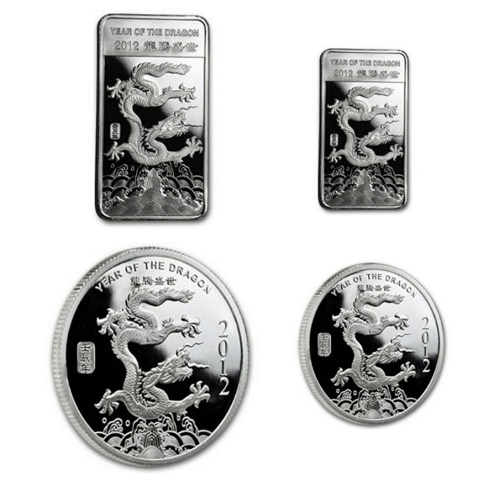 USA - 2 silver bars + 2 silver coins - 999 fine silver - silver Lunar year of the dragon- 2012 - AG coins - silver coins