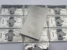 250 grams + 10 x 1 ounce 999 aluminium bars - Güldengossa Castle design