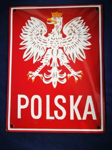 Rare National Emblem, Enamel Polish Border Sign, end of XX century