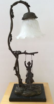 Designer Unknown - Art Nouveau Table Lamp with a Woman on Swing
