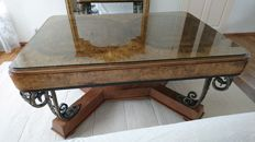 Impressive Art Deco dining room or hall table with wrought iron support