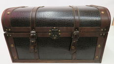 Wood and leather trunk