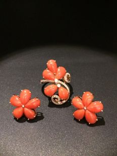 18k gold set of red coral ring earring suits - diamonds