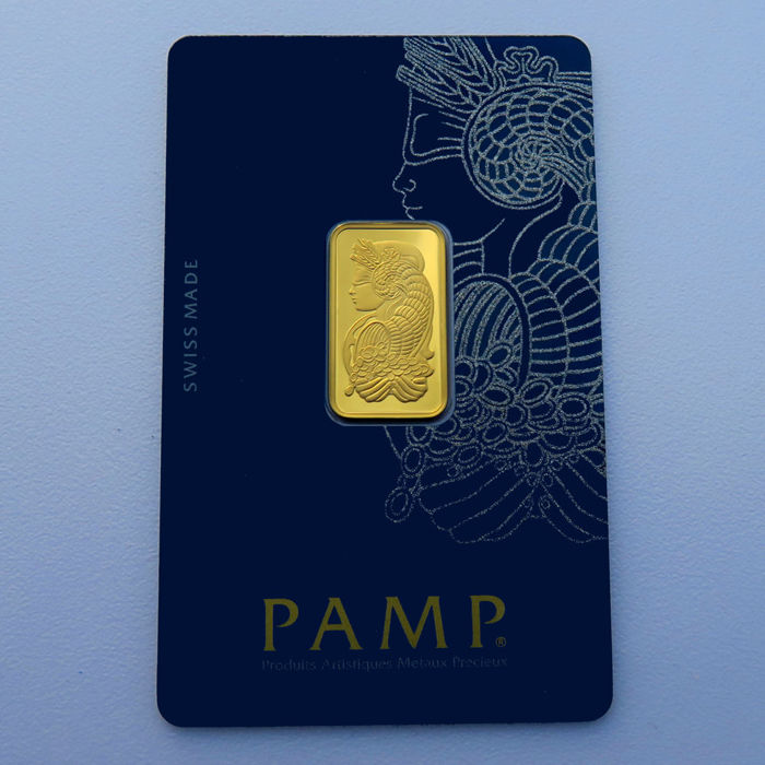 Switzerland - Pamp Suisse - 5 grams 999.9 gold / gold bars - in blister packaging - with certificate and serial number
