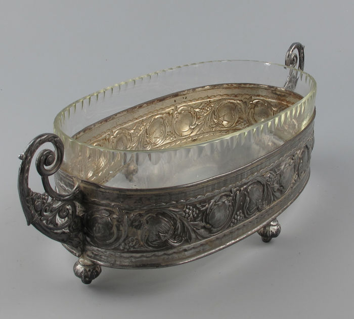 Old metal jardinière with original cut glass. France approx. 1920