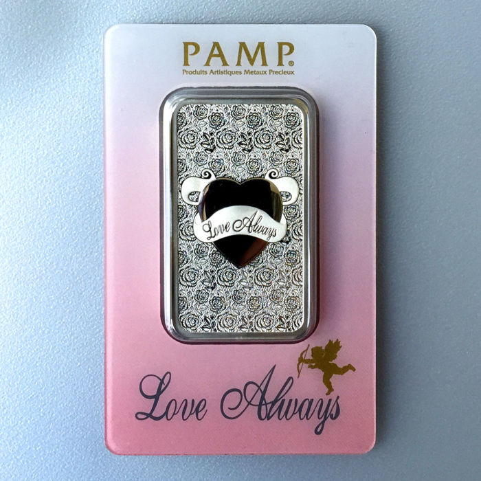 Switzerland - Pamp Suisse 1 oz 999 silver bar/silver - Love Always - great gift or investment