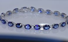 23.30 Ct Sapphires and Diamonds bracelet - 18kt white gold - Size 19 cm - No reserve price!