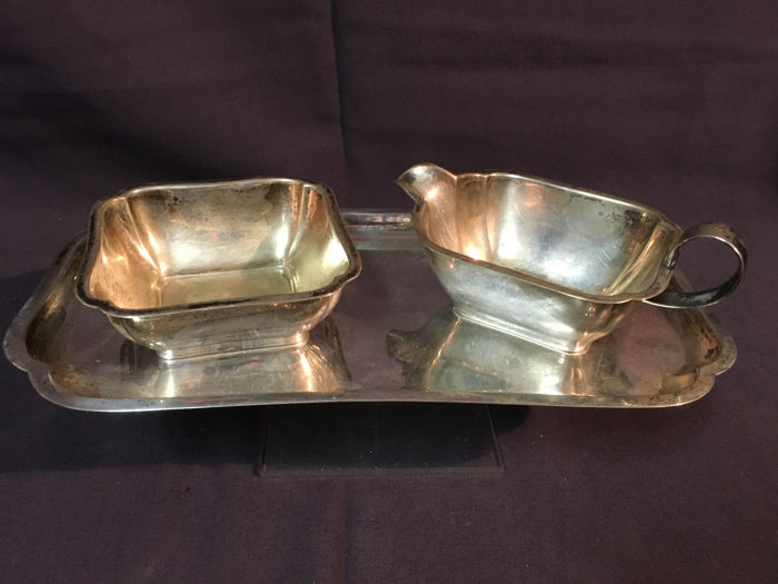 Three piece silver cream set, Wilkens, Germany, mid 20th century