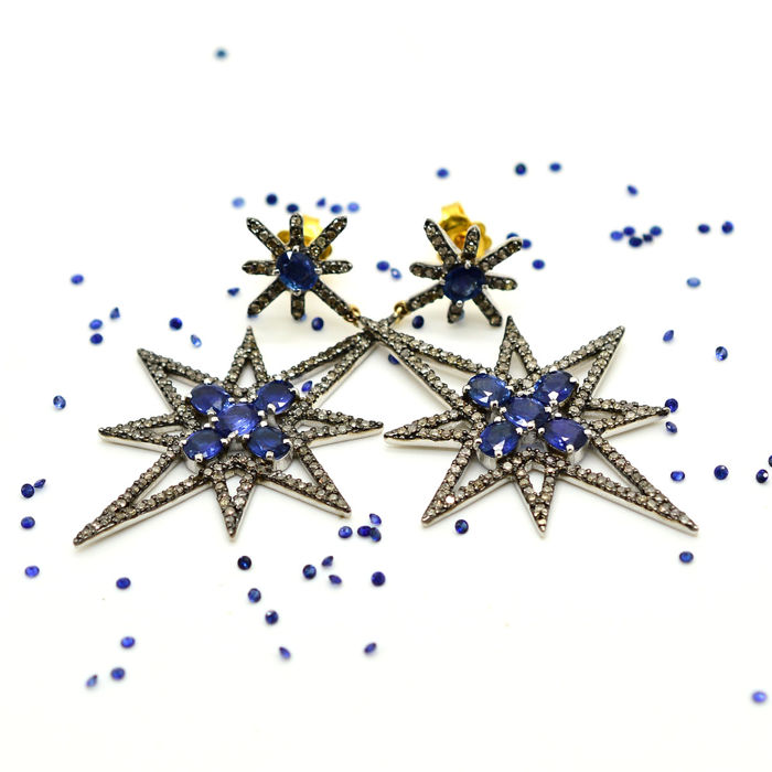 Star earrings with sapphires and diamonds, 7.75 ct in total