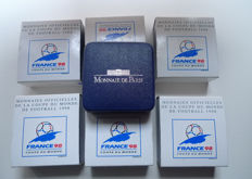 France - Monnaie de Paris - 10 Francs 1996/1998 'Football World Cup 1998' (7 different ones) - Silver