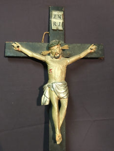 An imposing polychrome wooden crucifix - Southern Europe - late 19th century