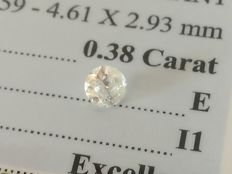 Diamond – 0.38 ct - E/I1 - EXC/EXC/EXC ** No Reserve **