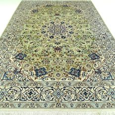 """Nain - 302 x 194 cm - """"eye-catcher - impressive Persian carpet, pistachio green - with silk - clean and in beautiful, virtually unused condition"""""""