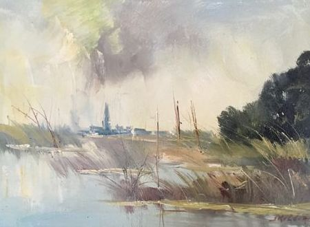 Jan Kelderman (1914-1990) - Landschap, Rust in de schermer