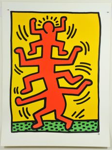Three graphics from Keith Haring -  graphics from 1984 till 1988