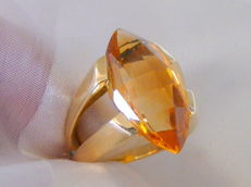 Citrine ring 750 gold 15.3 g - ring head approx. 2.3 cm long