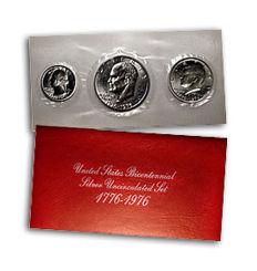 USA - 1776 - 1976 US Mint coin set 200 year anniversary silver Kennedy dollar 3 coins