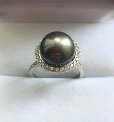 Gold Diamond ring with Tahitian Pearl 11,5 mm - size - 18,3
