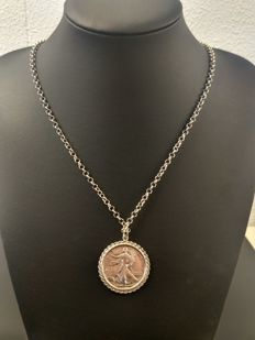 Silver anchor link necklace with United States coin 835 - 66.7 cm