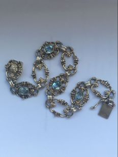 German silver bracelet - 1920 - faceted aquamarine