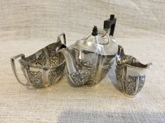 Vintage embossed decorated vintage solid silver tea set, Chester, George Nathan & Ridley Hayes, 1899/1900