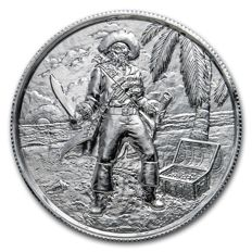 USA - 2 oz 999 Silber Feinsilber Silbermünze The Captain Pirat - Ultra High Relief