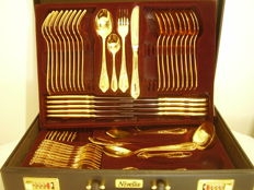 Cutlery set Nivella Solingen 23/24 karat hard gold plated, 59 pieces for 9-10 people in the original leather case with combination lock.