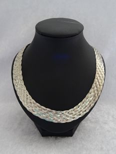 "Very wide, braided 925 silver ""herringbone"" necklace – length 45 cm."