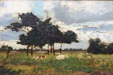 Albert Dubbois Pillet (1846-1890)-landscape with cows