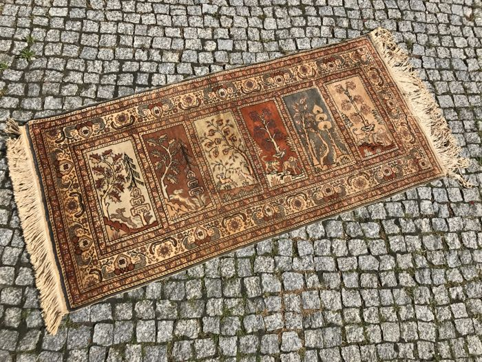 TURKISH Hand knotted SILK RUG KAYSERI 170x73 cm
