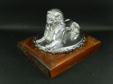 Original Vintage Chrome 1920 Armstrong Siddeley Sphinx Mascot on Original Petrol Cap Mounted on Oak Wood Base