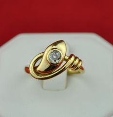 Antique Old cut Solitaire Diamond (0.33ct) set on unusual querky Snake design Yellow 18k Gold Ring - E.U Size 51 (resizable)