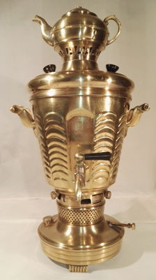 Beautiful antique brass Persian Samovar  -large - height 50 cm - 4.5 kg - Near East - first half of 20th century