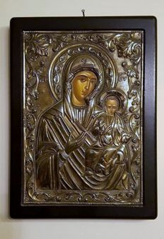 Theotokos (Virgin Mary),  - Silver Icon
