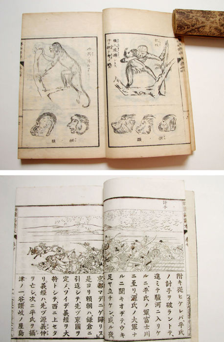 Two original woodblock print books, a Zoology book and a educational text book - Japan - 1850 to 1900
